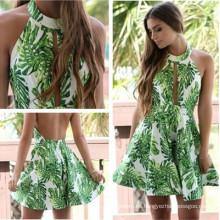 Moda Estilo Clásico Lady Sexy Dress Verde Flor Falda Belleza Volver Ropa