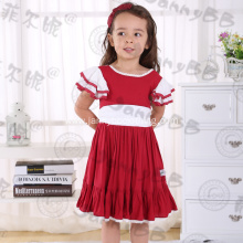 2017 flutter sleeve girls boutique Christmas dress