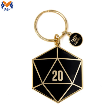 Metal Custom D20 Black Enamel Keychain
