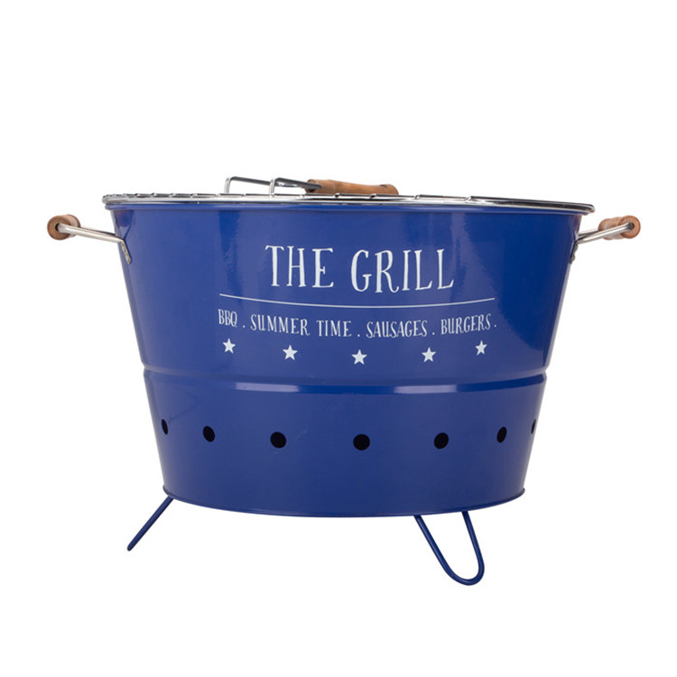 Round Bbq Portable Bucket Blue
