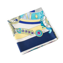 2018 New design 130x130cm Roman clocks pattern scarf print silk scarves ladies 60%silk + 40% elastic cotton fabric scarf