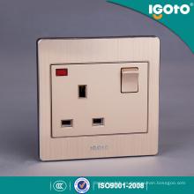 Interruptor de pared y zócalo de aluminio cepillado 13A estándar británico con el neón