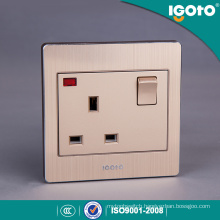British Standard Brushed Aluminum 13A Wall Switch and Socket with Neon