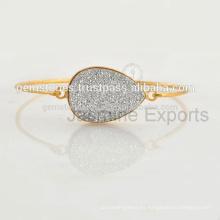 Hecho a mano 925 plata druzy joyería de pulsera para las mujeres en la venta al por mayor