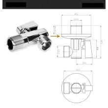Válvula de ângulo de latão com alça triangular, cromada, válvula triangular