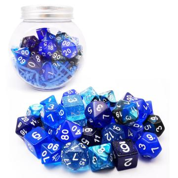 Bescon RPG Dice Set 35pcs Ocean Blue Set, DND Juego de rol Dados 5X7pcs