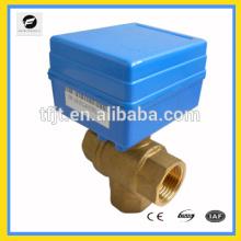 3 vías CWX-1.0B DN15 DC12V tipo T CR01 latón CR01 control de flujo de la válvula de agua eléctrica