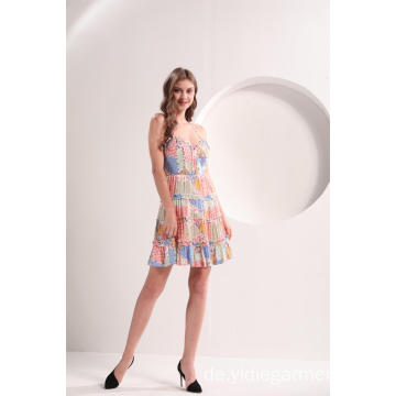 Colorblock Blumendruck Mini Flare Kleid