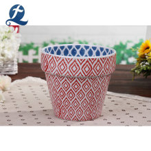 Recyclable Custom Striped Double Color Ceramic Planters Flowerpots