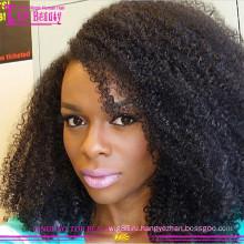 Бразильский человеческих волос кудрявый вьющиеся парик фронта шнурка естественного волосяного покрова высокой плотности черный афро кудрявый курчавый парик для чернокожих женщин