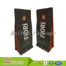 En gros Plat Bas Food Grade 500g 1 kg Emballage Feuille D'aluminium Ziplock Personnalisé Étiquette Privée Mat Noir Café Sac