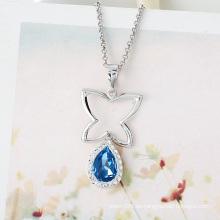 Xuping Elegant Rhodium imitación en forma de corazón CZ Zircon joyería colgante collar 88-1204