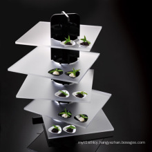 Black and Frosted Acrylic Catering Display Stand