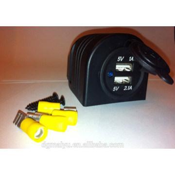 Cargador USB de la motocicleta del coche del autobús marino de Double Ports
