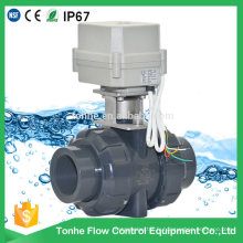 2 voies Mini 1 1/2 '' Inch Motorized PVC Valve Actionneur électrique Water Ball Valve