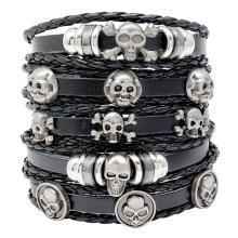 Shangjie OEM Halloween 2021 New Arrival Fashion Leather Skull Charm Bracelet for Gift Multi Statement Halloween Men Bracelet