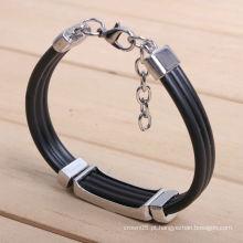Novo estilo Bracelete de couro trançado KSQN-15