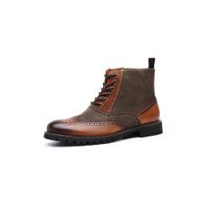 Мужские ботинки из натуральной кожи с верхом из плотной ткани