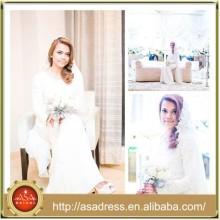 MSL139 Muslim bridal gown lace and chiffon Long Sleeve Mermaid Islamic wedding dress
