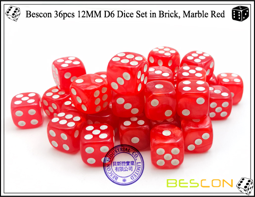 Bescon 36pcs 12MM D6 Dice Set in Brick, Marble Red-5