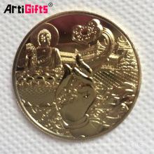 China que hace la moneda en blanco de cobre conmemorativa del oro de buddha conmemorativa del recuerdo