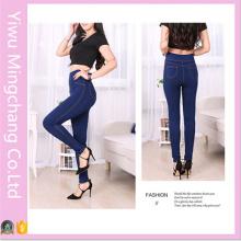 Мода высокой талии твердых похудения джинсы Legging