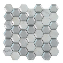 Foshan Bathroom Kitchen Backsplash Hexagon Marble Glass Mosaic