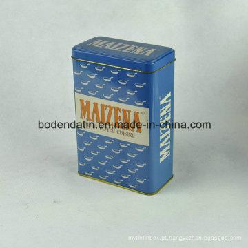 Caixa de lata metálica personalizada para chá com forma retangular
