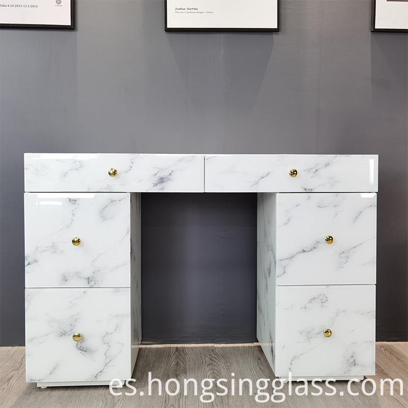 white marble effect glass dressing table