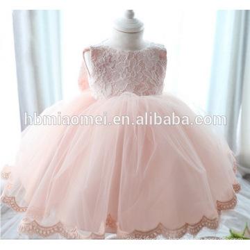 Newborn Baby Girls Princess Baptism Dresses Pink Color Toddler Dresses for 1 Year Old Girl