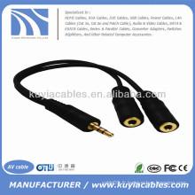 Prise jack audio stéréo 3,5 mm mâle à double femelle double câble stéréo Y Splitter