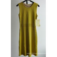 63% Rayon37% Nylon sin mangas vestido de jersey para las damas