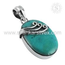 Pendentif en forme de turquoise design simple Bijouterie en pierre gemme en argent
