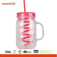 Venta al por mayor 20 OZ BPA-Free doble pared como plástico Mason jarra con mango