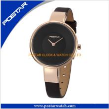 Relógio de movimento de quartzo Japão para senhoras com pulseira de couro genuíno
