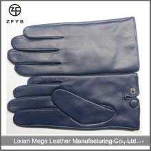 Guantes de cuero para hombres de color azul marino en guantes de cuero y mitones