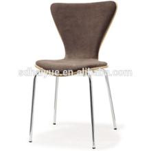 2017 популярная деревянная обивка мягкой подушке обеденный стул ресторан стул с хромированными стальными ножками HY2018-1