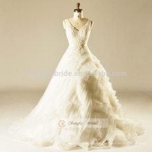 Vestido de boda blanco de la torta del V-line del cordón con las correas que traen el vestido de bola