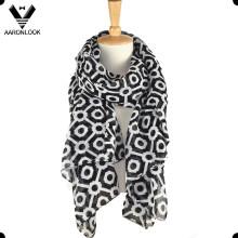 Fashionable fornecimento OEM personalizado impresso poliéster lenço largo