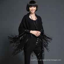 Senhora moda couro tassel viscose poliéster de malha xale preto (yky4528)