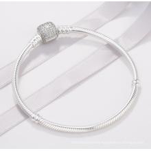 Classic Buckle S925 Silver Bracelet Chic Shining DIY Basic Chain Sterling Silver Snake Bone Chain Bracelet Gift Girl