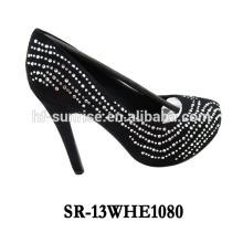 SR-13WHE1080 los últimos zapatos del alto talón para el alto talón coreano de las muchachas calzan la transferencia de alto talón del rhinestone de los zapatos