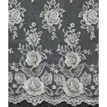 Ivory Wedding Lace Embroidered Flowers Tulle Fabric Lace 52'' No.CA214