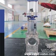 Vatac Wcb / Lcb / Wc6 / Ss304 / Ss316 a través de la válvula de compuerta de cuchilla con extremos de oblea / terminal