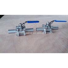 Válvula de bola de solda 3pc 1000WOG aço inoxidável