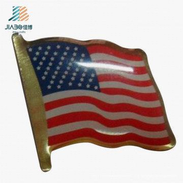 China Regalo promocional que imprime la insignia de encargo del Pin de la bandera de los EEUU en artes del metal