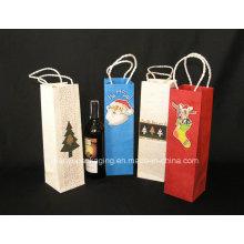 Papier Kraft personnalisé Sacs d'emballage en vin rouge