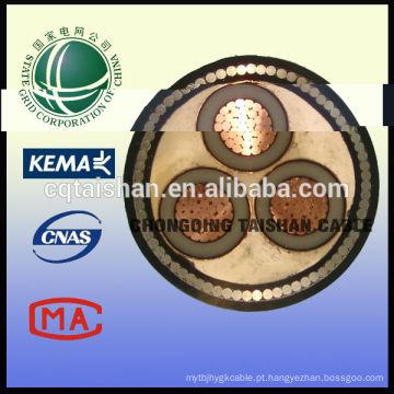 10kV XLPE isolou o cabo blindado da seção transversal de 3 * 300sqmm na porcelana (grade do estado)