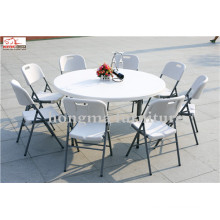 5ft Plastic Round Dining Table Folding Banquet Outdoor Table