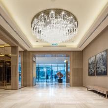 Novo lustre de cristal circular grande e gracioso em villa de quarto personalizado com candelabro de acrílico